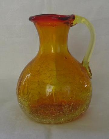 Orange Crackle Glass Pitcher With Red Rim