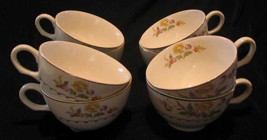 Set Of Eight Paden City Pottery Cups With Flower Motif