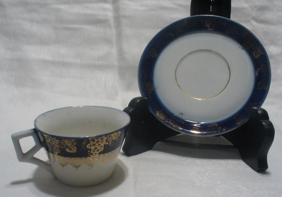 Cobalt And Gold Trimmed Demi Cup And Saucer From Germany