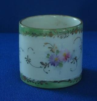 Vintage Porcelain Flower Decorated Napkin Ring
