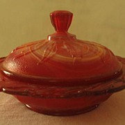 "Imperial Glass ""End-O-Day"" Covered Round Butter Dish"