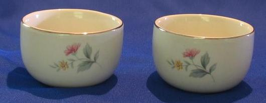 "Pair of ""Springtime"" Pattern Hall's Custard Cups"