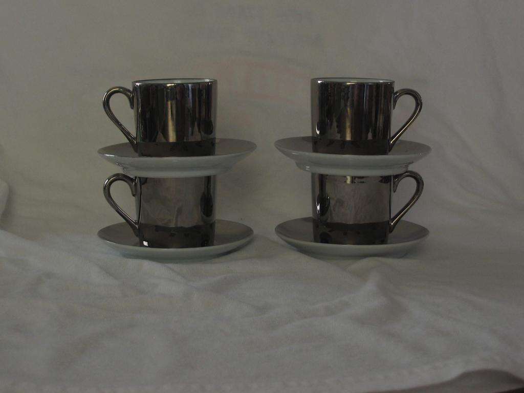 Set Of Four Silver Luster Demitasse Cups And Saucers