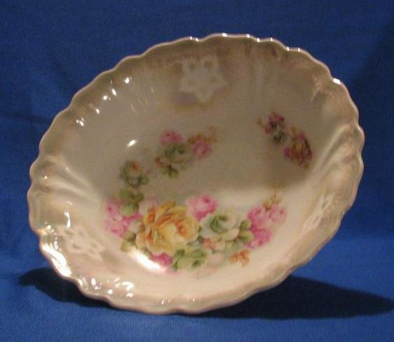 Rose Decorated German Porcelain Bowl