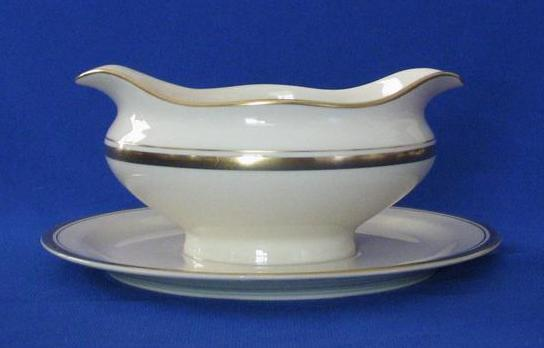"Syracuse China ""Monticello"" Gravy Boat With Attached Under Plate"