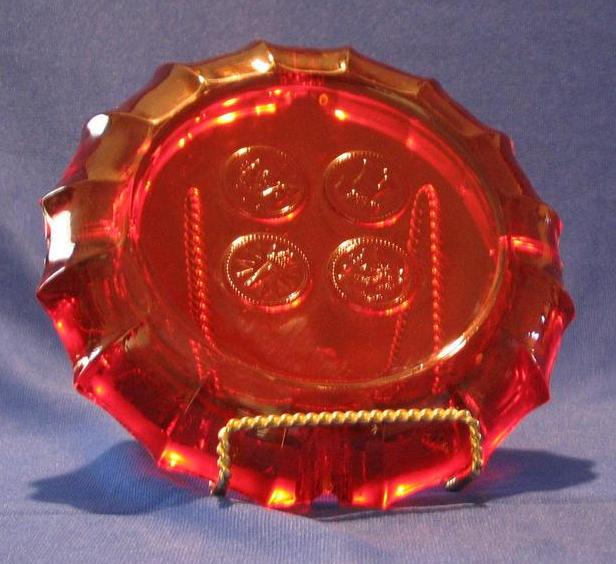 Fostoria Ruby Coin Ashtray From Adreamremembered On Ruby Lane