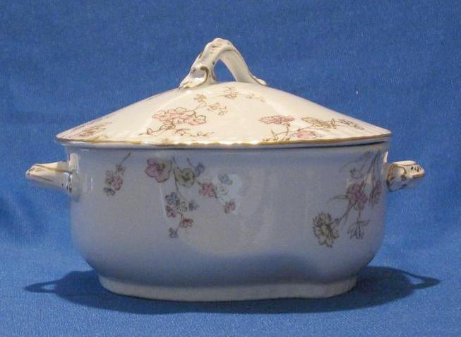 "Johnson Bros. Covered ""Petunia"" Butter Dish With Liner"