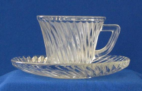 Clear Swirl Design Demitasse Cup And Saucer