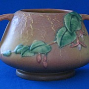 Roseville Fuscia Pattern Handled Jardiniere