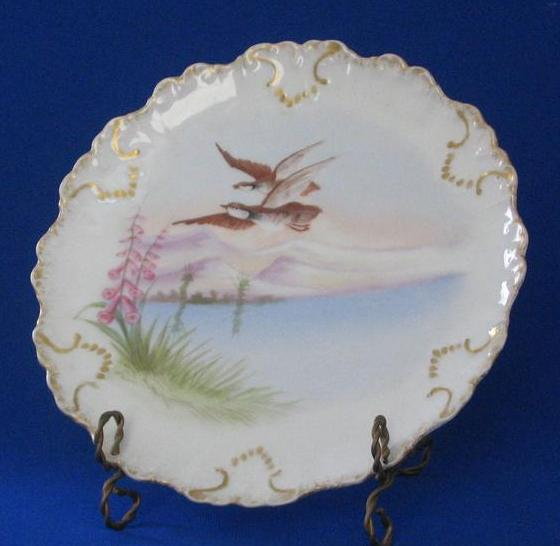 Limoges Hand Painted Plate With Birds In Flight