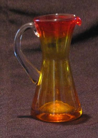 Mini Amberina Pitcher With Clear Applied Handle