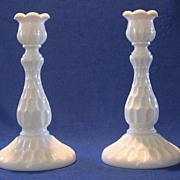 Fenton Thumbprint Milk Glass Candlesticks