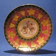 Transfer Decorated Porcelain Plate With Gold Trim