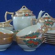 Gold Luster With Flower Decoration Luncheon Tea Set