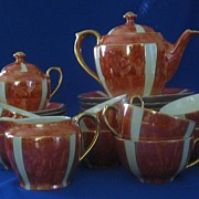 Schaller Orange Luster And White Luncheon Tea Set
