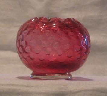 Fenton Glass Cranberry Colored Rose Bowl