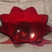 Fenton Glass Ruby Flower Form Console Bowl