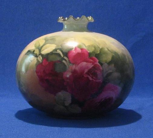 Gorgeous Rose Decorated Willets Belleek Squat Vase