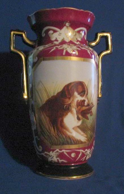 Large Two Handled Vase With Hunting Dog Decoration