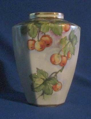 Cherry Decorated Marked Nippon Porcelain Vase