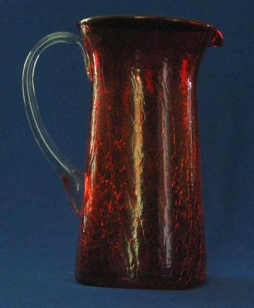 Ruby Crackle Glass Pitcher With Attached Handle