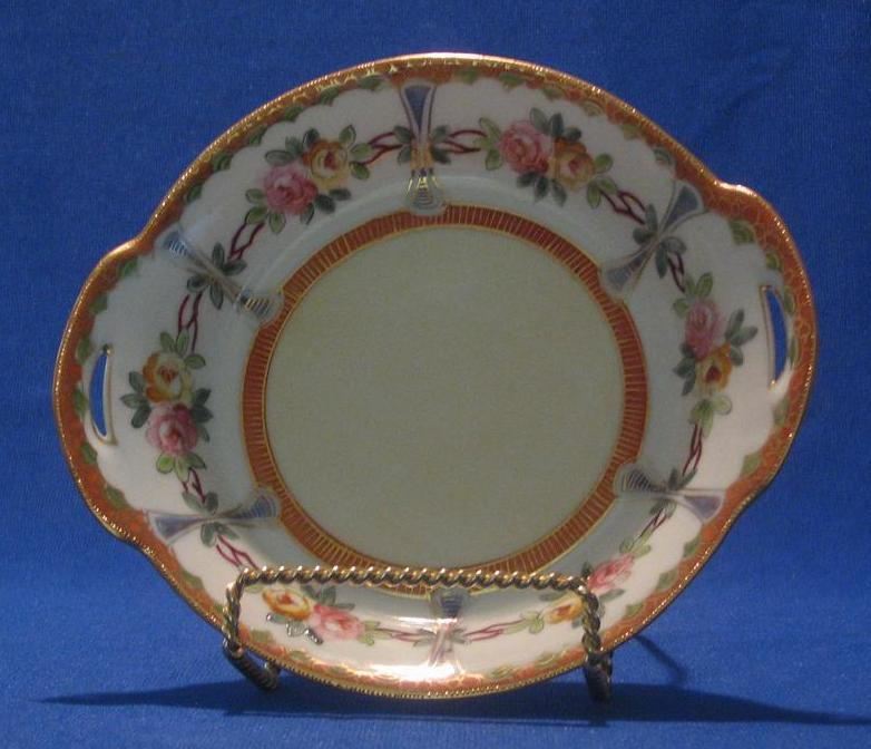 Hand Painted Nippon Pierced Handle Bowl