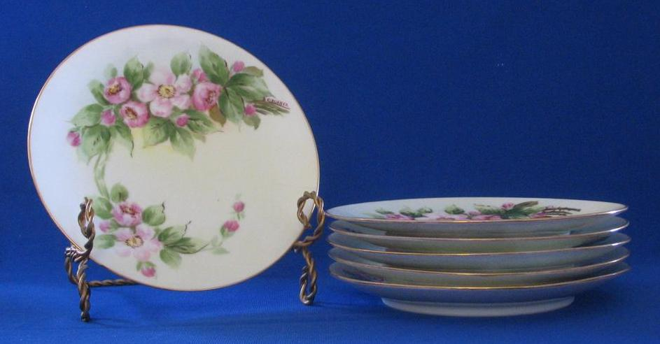 Set Of Six Hand Decorated Silesia Cake Plates