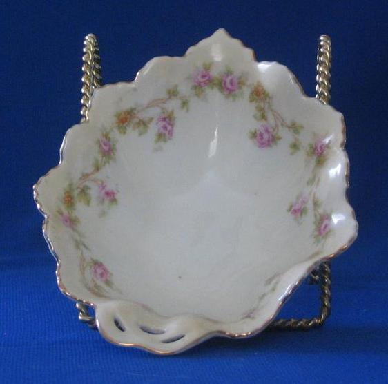 Austrian Porcelain Pierced Handle Candy Dish