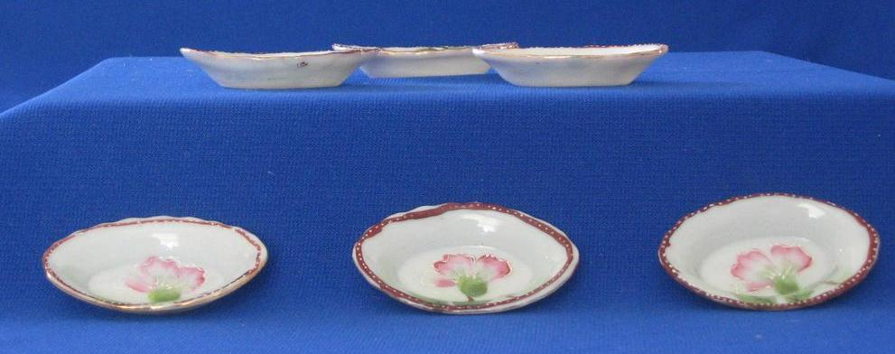 Set Of Six Porcelain Cherry Blossom Decorated Salts