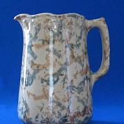 Sponge Decorated Yellow Ware Pitcher
