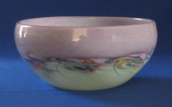 Cupped Monart Art Glass Bowl With Pontil Mark On Bottom