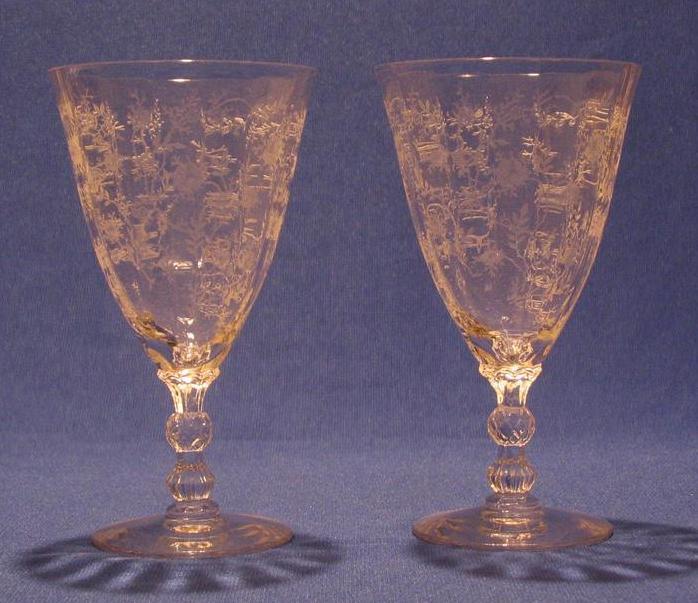 "Pair Of Fostoria ""Chintz"" Low Goblets"