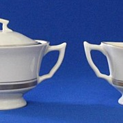 "Syracuse China ""Monticello"" Creamer And Covered Sugar"