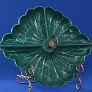 Dark Green USA Pottery Three Section Relish Dish