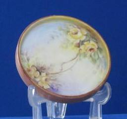 Artist Initialed Rose Decorated Porcelain Pin Dish