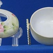 Nippon Pink Rose Decorated Porcelain Hair Receiver