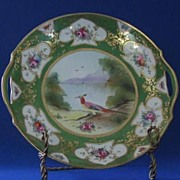 Gorgeous Noritake Handled Plate With Bird Motif Decoration