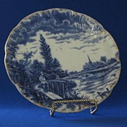 Flow Blue Scenic Plate Of Man Fishing