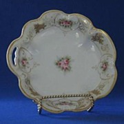 Pink Rose Decorated Nippon Pierced Handle Candy Dish