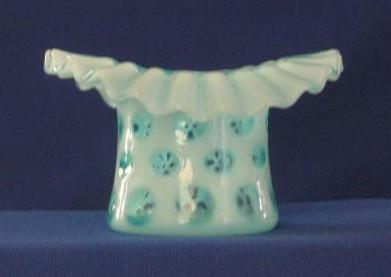 Fenton Coin Dot Blue Opalescent Novelty Hat