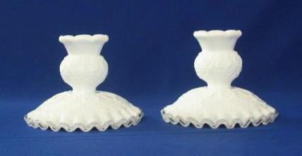 "Fenton Silver Crest ""Spanish Lace"" Pattern Candlesticks"