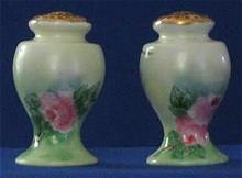 Artist Signed Porcelain Rose Decorated Salt And Peppers