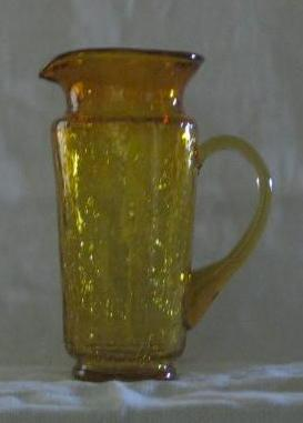 Topaz Crackle Glass Pitcher With Attached Handle