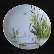 Artist Signed Hand Painted Heron Decorated Plate