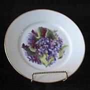 Violet Hand Painted Artist Signed Porcelain Plate