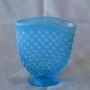 Fenton Blue Opalescent Hobnail Miniature Fan Vase