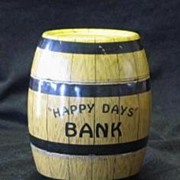 "Tin Barrel Shaped J. Chein ""Happy Days"" Bank"