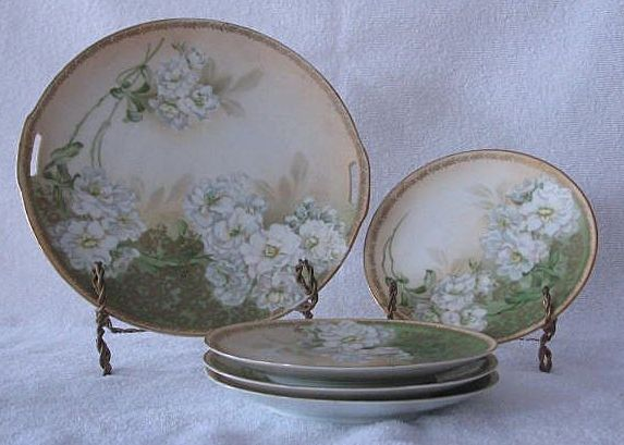 R S Tillowitz Silesia Cake Plate And Four Serving Plates