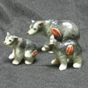Three Miniature Bone China Bear Figurines
