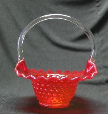 Kanawha Amberina Hobnail Basket With Clear Handle